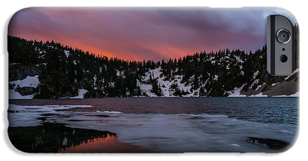 Snow Lake Icy Sunrise Fire IPhone Case by Mike Reid