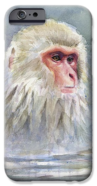 Snow Monkey Taking A Bath IPhone Case by Olga Shvartsur