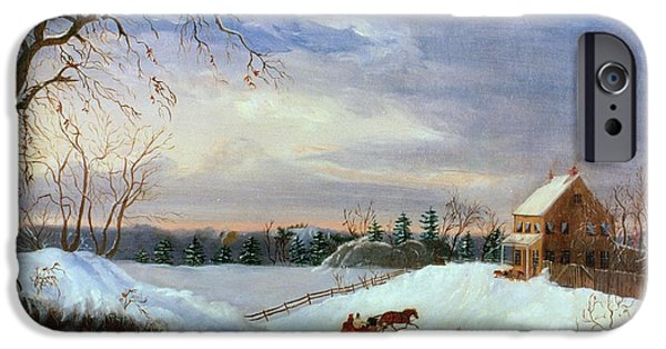 Snow Scene In New England IPhone Case by American School