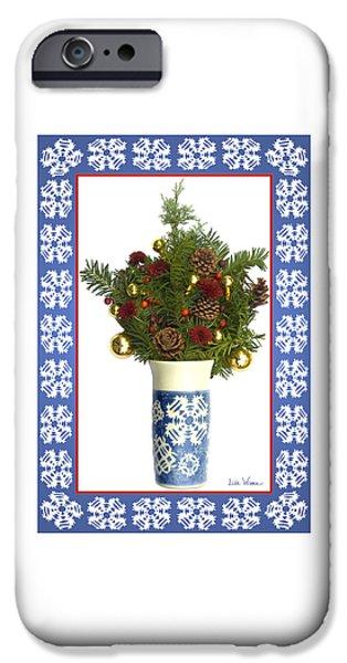 Snowflake Vase With Christmas Regalia IPhone Case by Lise Winne