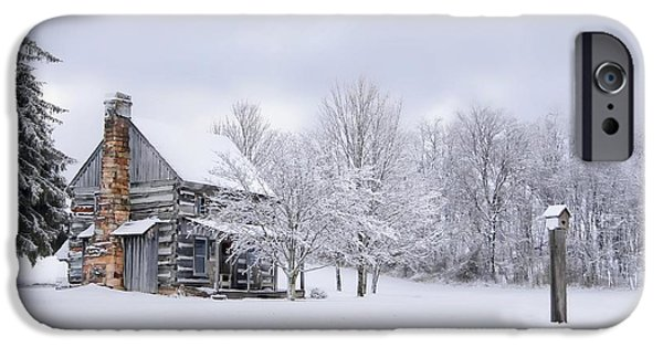 Snowy Cabin IPhone Case by Benanne Stiens