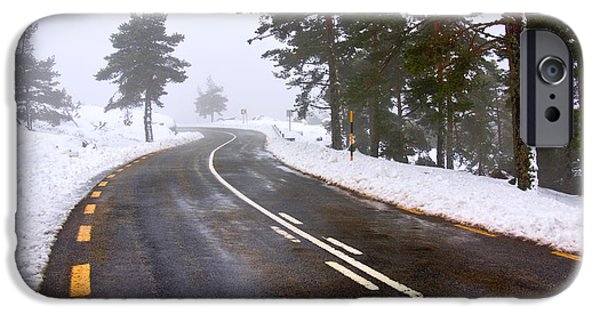 Snowy Road IPhone Case by Carlos Caetano