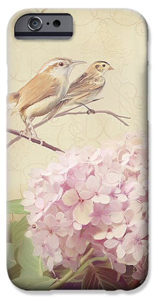 Softly Summer - Carolina Wrens W Blush Pink Hydrangeas IPhone Case by Audrey Jeanne Roberts