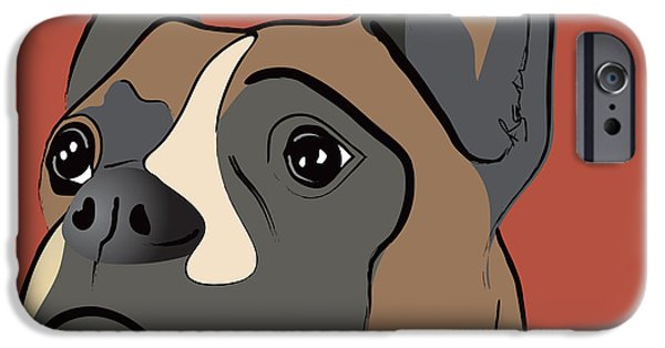Spencer Boxer Dog Portrait IPhone Case by Robyn Saunders