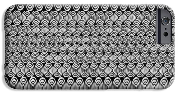 Spirals Black And White - Abstract Painting IPhone Case by Edward Fielding