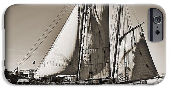 Spirit Of South Carolina Schooner Sailboat Sepia Toned IPhone Case by Dustin K Ryan