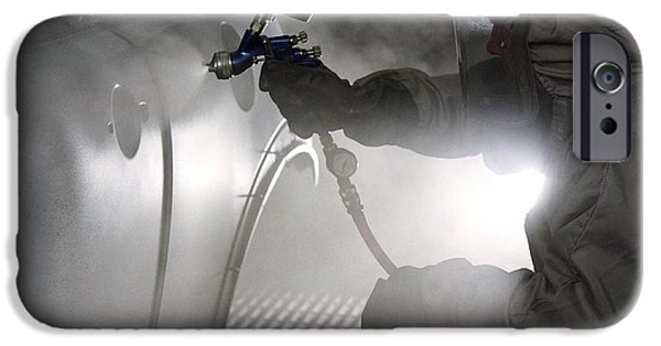 Spray Painting A Car IPhone Case by Crown Copyrighthealth & Safety Laboratory
