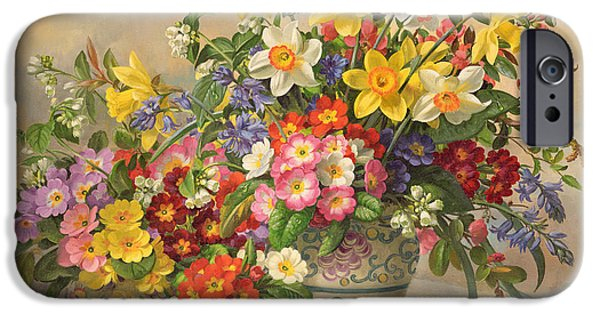 Spring Flowers And Poole Pottery IPhone Case by Albert Williams