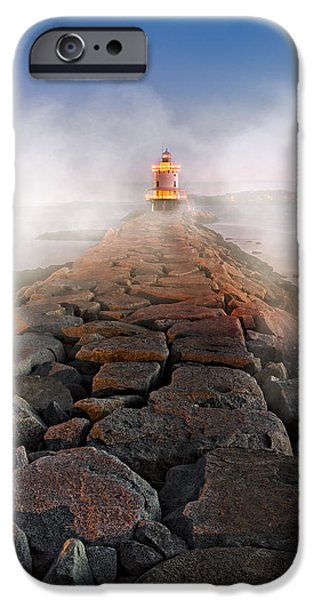 Spring Point Ledge Light Artic Sea Smoke IPhone Case by Susan Candelario