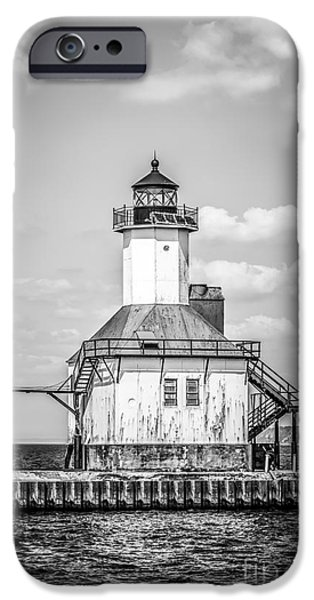St. Joseph Michigan Lighthouse In Black And White IPhone Case by Paul Velgos