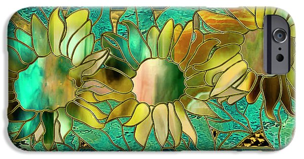 Stained Glass Sunflowers IPhone Case by Mindy Sommers