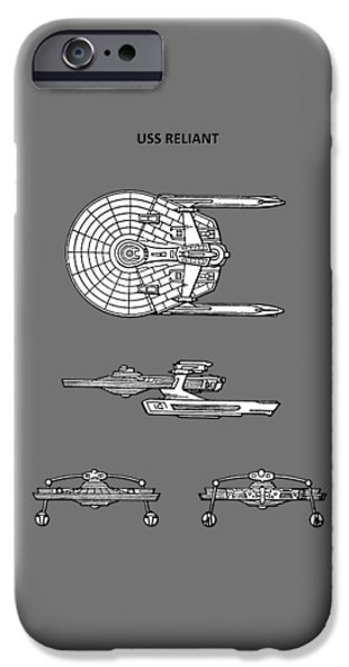 Star Trek - Uss Reliant Patent IPhone Case by Mark Rogan