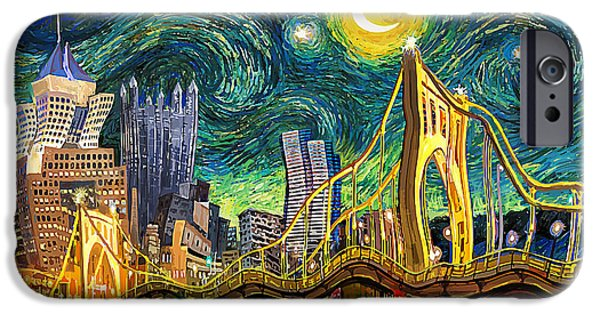 Starry Night In Pittsburgh IPhone Case by Frank Harris