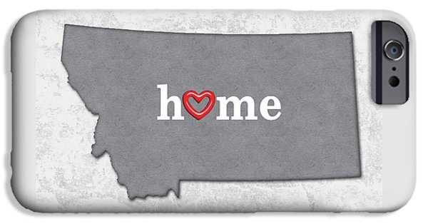State Map Outline Montana With Heart In Home IPhone Case by Elaine Plesser
