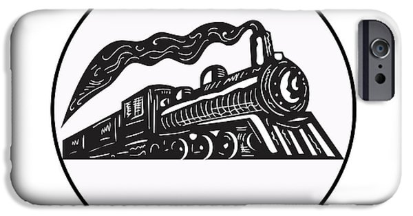 Steam Train Locomotive Coming Up Circle Woodcut IPhone Case by Aloysius Patrimonio