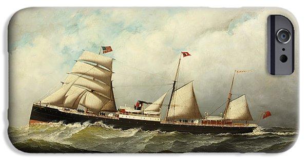 Steamship   Cornwall IPhone Case by Antonio Jacobsen