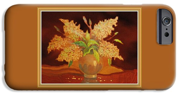 Still Life For Mathilda H B With Decorative Ornate Printed Frame. IPhone Case by Gert J Rheeders