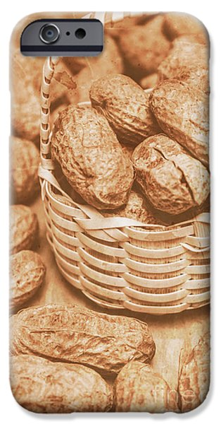 Still Life Peanuts In Small Wicker Basket On Table IPhone Case by Jorgo Photography - Wall Art Gallery