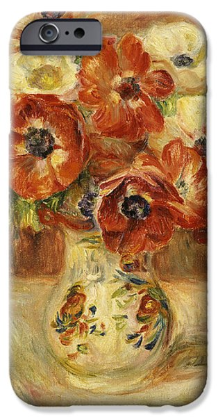 Still Life With Anemones  IPhone Case by Pierre Auguste Renoir