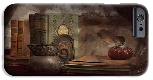 Still Life With Antique Books, Silver Pitcher And Inkwell IPhone Case by Michele Loftus