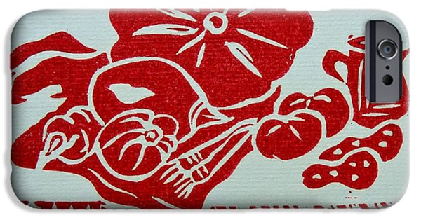 Still Life With Veg And Utensils Red On White IPhone Case by Caroline Street