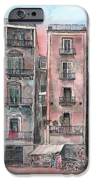 Street Scene At Twilight IPhone Case by Arline Wagner