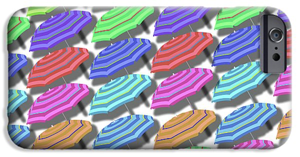 Summer Fun Beach Umbrellas Pattern IPhone Case by Edward Fielding