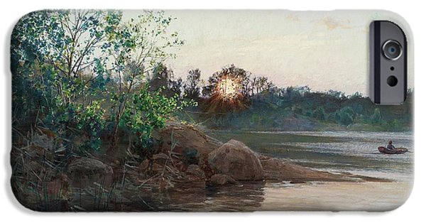Sun Setting By The Lake IPhone Case by Johan Krouthene