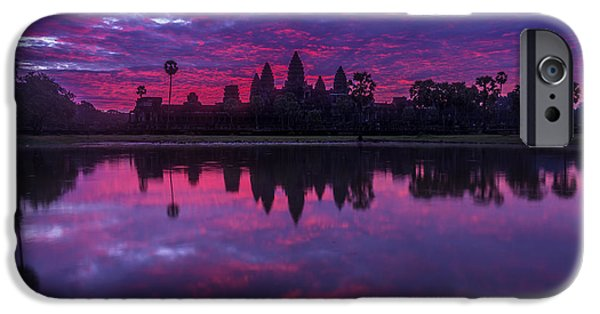 Sunrise Angkor Wat Reflection IPhone Case by Mike Reid