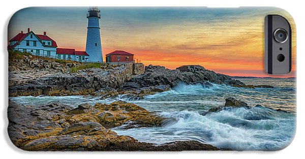 Sunrise At Portland Head Light IPhone Case by Rick Berk