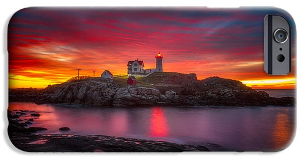 Sunrise Over Nubble Light IPhone Case by Darren  White