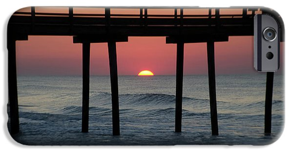 Sunrise Through The 32nd Street Pier Avalon New Jersey IPhone Case by Bill Cannon
