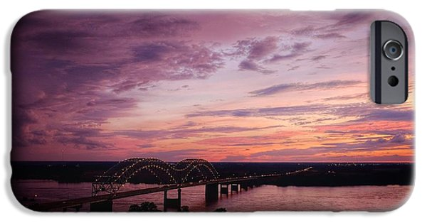 Sunset Over The I40 Bridge In Memphis Tennessee  IPhone Case by T Lowry Wilson