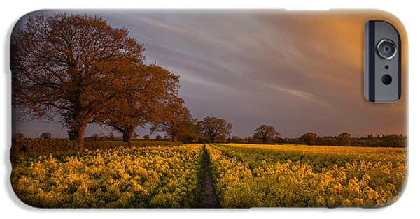 Sunset Over The Rapeseed Field IPhone Case by Chris Fletcher