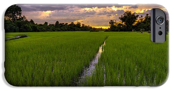 Sunset Rice Fields In Cambodia IPhone Case by Mike Reid