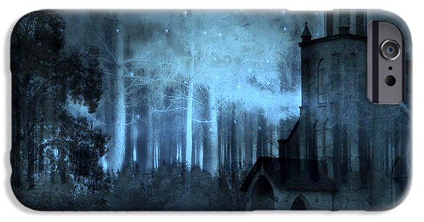 Surreal Church In Woods Blue Moon Starry Full Moon Night  IPhone Case by Kathy Fornal