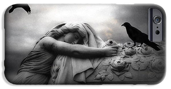 Surreal Gothic Cemetery Angel Mourning Figure With Black Ravens  IPhone Case by Kathy Fornal