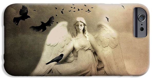 Surreal Gothic Cemetery Angel With Flying Ravens - Ethereal Surreal Gothic Angel Art IPhone Case by Kathy Fornal