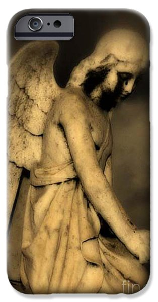 Surreal Gothic Dark Cemetery Angel With Black Face IPhone Case by Kathy Fornal
