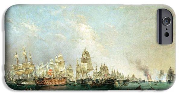 Surrender Of The Santissima Trinidad To Neptune The Battle Of Trafalgar IPhone Case by Lieutenant Robert Strickland Thomas