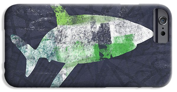 Swimming With Sharks 2- Art By Linda Woods IPhone Case by Linda Woods