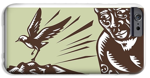 Tagaloa Looking At Plover Bird Woodcut IPhone Case by Aloysius Patrimonio