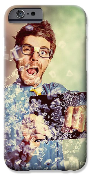 Technology Tablet Man With Creative Breakthrough IPhone Case by Jorgo Photography - Wall Art Gallery