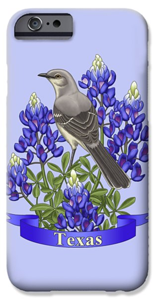 Texas State Mockingbird And Bluebonnet Flower IPhone 6s Case by Crista Forest