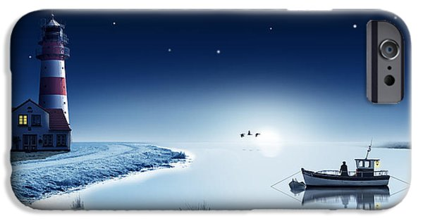 The Bay In Winter With Lighthouse IPhone Case by Monika Juengling
