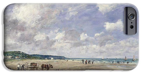The Beach At Tourgeville IPhone Case by Eugene Louis Boudin