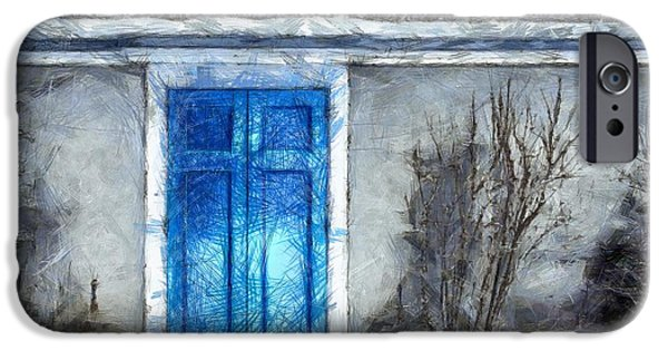 The Blue Door Beckons Pencil IPhone Case by Edward Fielding
