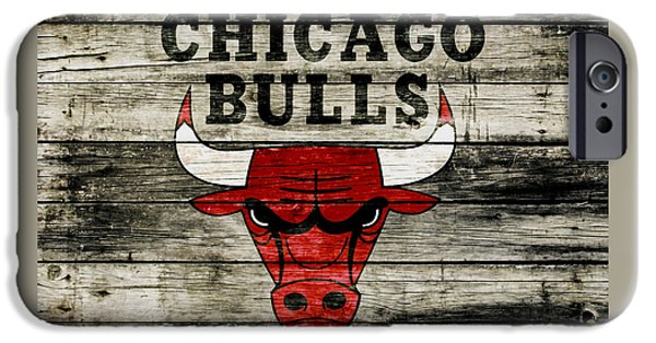 The Chicago Bulls Wood Art IPhone Case by Brian Reaves