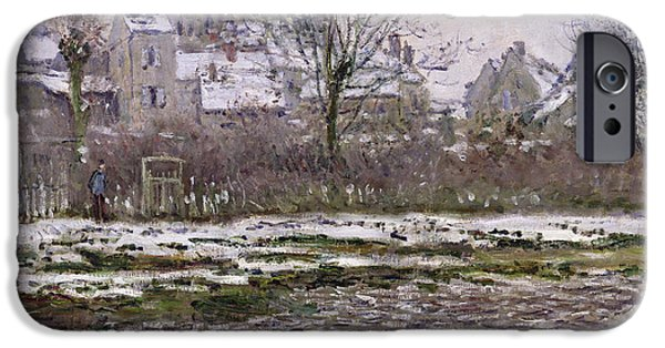 The Church At Vetheuil Under Snow IPhone Case by Claude Monet