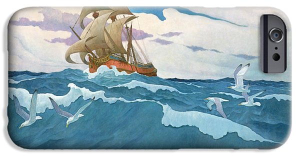The Coming Of The Mayflower  IPhone Case by Newell Convers Wyeth